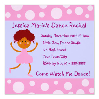 Girly Pink Bubbles Dance Recital Card