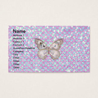 Girly Pink Butterfly Blue Hearts Glitter Pattern Business Card