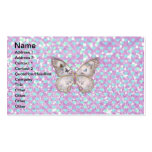 Girly Pink Butterfly Blue Hearts Glitter Pattern Business Card Templates