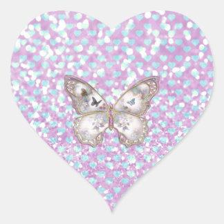 Girly Pink Butterfly Blue Hearts Glitter Pattern Heart Sticker