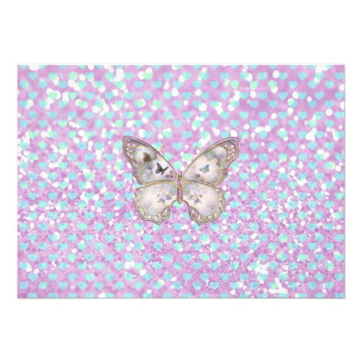 Girly Pink Butterfly Blue Hearts Glitter Pattern Announcement