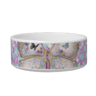 Girly Pink Butterfly Blue Hearts Glitter Pattern Pet Food Bowls