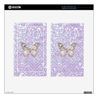 Girly Pink Butterfly Blue Hearts Glitter Pattern Kindle Fire Skins