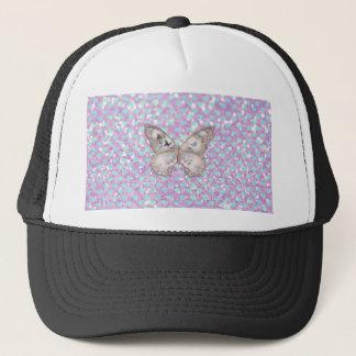 Girly Pink Butterfly Blue Hearts Glitter Pattern Trucker Hat