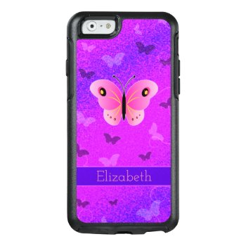 Girly Pink Butterfly Butterflies Purple Custom Otterbox Iphone 6/6s Case by sunnymars at Zazzle