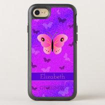 Girly Pink Butterfly Butterflies Purple Custom OtterBox Symmetry iPhone 8/7 Case