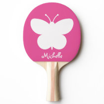 Girly pink butterfly table tennis ping pong paddle