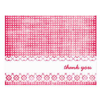 Girly Pink Checked Thank You Cards
