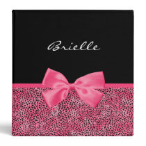 Girly Pink Cheetah Print With Cute Bow and Name Binder