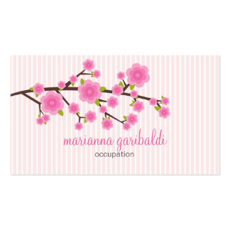 Girly Pink Cherry Blossom Personalized Business Card Templates