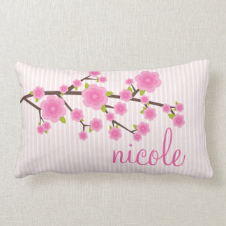 Girly Pink Cherry Blossom Personalized Pillows
