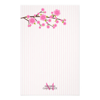 Girly Pink Cherry Blossom Personalized Stationery