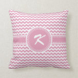Girly Pink Chevron Chic Zigzag Stripes Throw Pillow