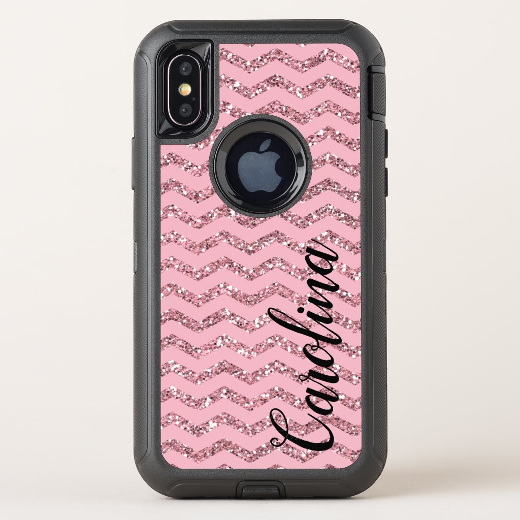 Girly Pink Chevron Glitter, Personalized with Name OtterBox Defender iPhone X Case