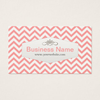 Girly Pink Chevron Pet Nanny Business Card
