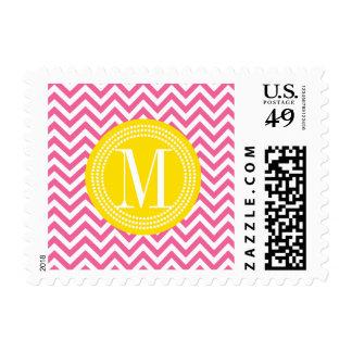 Girly Pink Chevron Zigzag Personalized Monogram Stamp