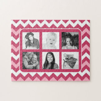 Girly Pink Chevrons Photo Collage Jigsaw Puzzle