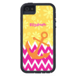 Girly Pink Chevrons With Orange Anchor iPhone 5 Case