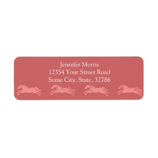 Girly Pink Classic Equestrian Horses Label