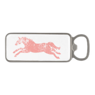 Girly Pink Classic Equestrian Horses Magnetic Bottle Opener