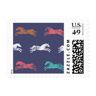Girly Pink Classic Equestrian Horses Postage
