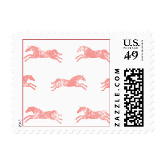Girly Pink Classic Equestrian Horses Postage Stamp
