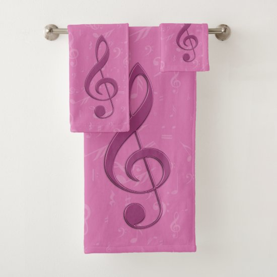 Girly Pink Clef and Musical Notes Bath Towel Set