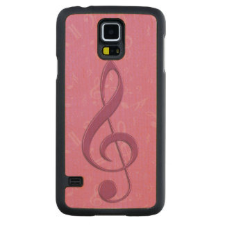 Girly Pink Clef and Musical Notes Carved® Maple Galaxy S5 Case