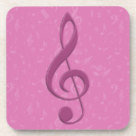 Girly Pink Clef and Musical Notes Drink Coasters