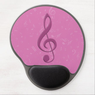 Girly Pink Clef and Musical Notes Gel Mouse Pads