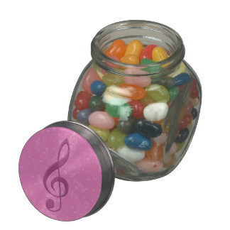 Girly Pink Clef and Musical Notes Glass Candy Jar