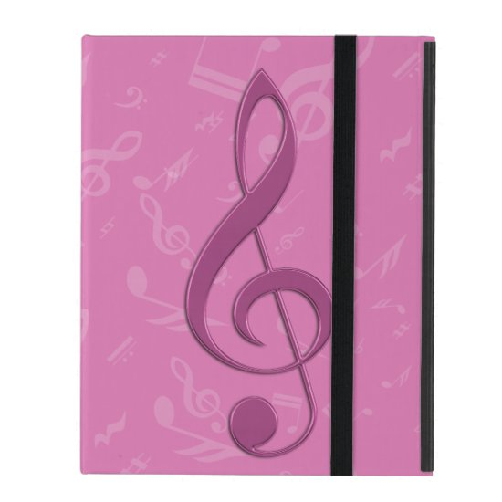 Girly Pink Clef and Musical Notes iPad Case