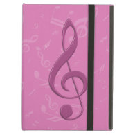 Girly Pink Clef and Musical Notes iPad Cover