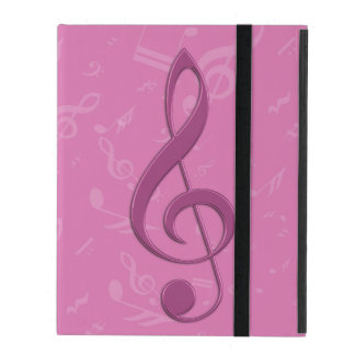 Girly Pink Clef and Musical Notes iPad Folio Case