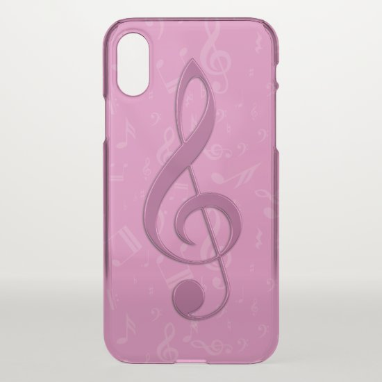 Girly Pink Clef and Musical Notes iPhone XS Case