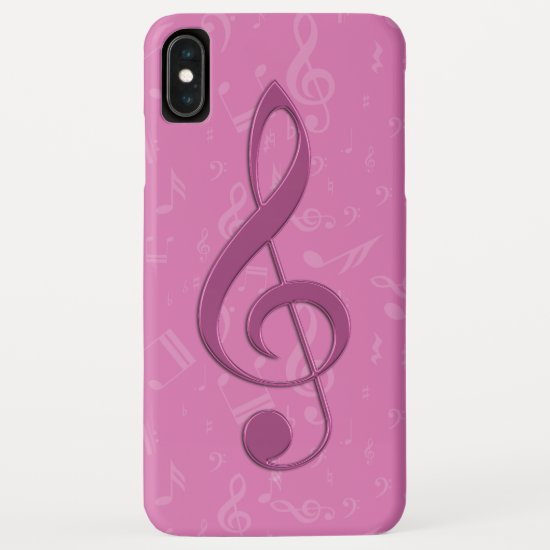 Girly Pink Clef and Musical Notes iPhone XS Max Case
