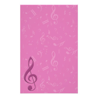 Girly Pink Clef and Musical Notes Stationery