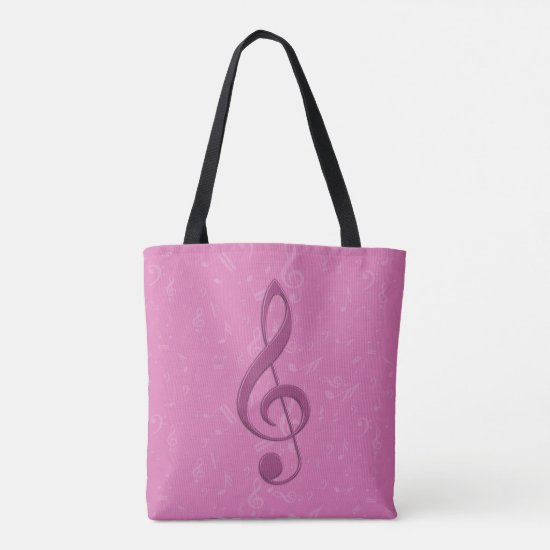 Girly Pink Clef and Musical Notes Tote Bag