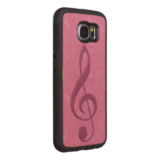 Girly Pink Clef and Musical Notes Wood Phone Case