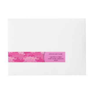 Girly pink color style camouflage pattern wrap around address label
