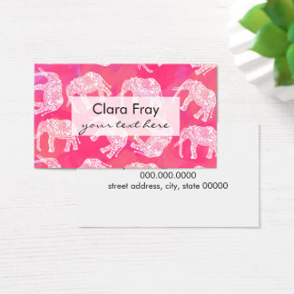 girly pink colorfu tribal floral elephant pattern business card
