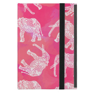 girly pink colorful tribal floral elephant pattern cover for iPad mini