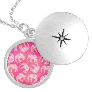 girly pink colorful tribal floral elephant pattern locket necklace