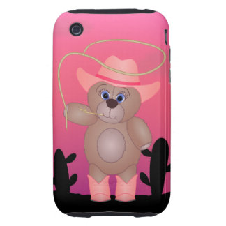 Girly Pink Cowgirl Teddy Bear Cartoon Mascot iPhone 3 Tough Cover