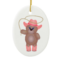 Girly Pink Cowgirl Teddy Bear Cartoon Mascot Ceramic Ornament