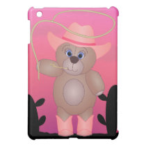 Girly Pink Cowgirl Teddy Bear Cartoon Mascot Cover For The iPad Mini