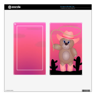 Girly Pink Cowgirl Teddy Bear Cartoon Mascot Kindle Fire Decal