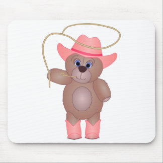Girly Pink Cowgirl Teddy Bear Cartoon Mascot Mouse Pad