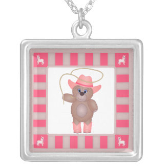Girly Pink Cowgirl Teddy Bear Cartoon Mascot Silver Plated Necklace