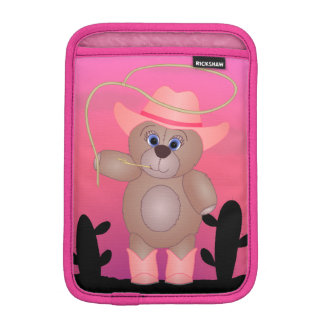 Girly Pink Cowgirl Teddy Bear Cartoon Mascot Sleeve For iPad Mini